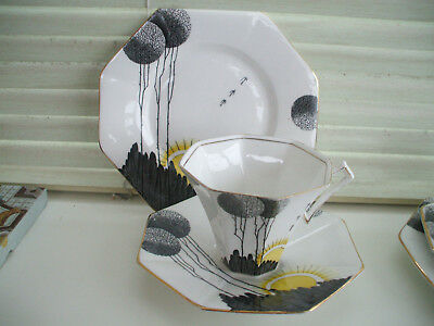 2 ICONIC ART DECO TRIOS BY MELBA BONE CHINA - CUP, SAUCER, PLATE c1930s Rd. No.