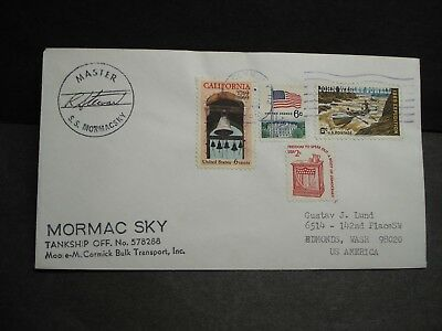 SS MORMACSKY, MOORE-McCORMACK Lines Naval Cover SIGNED Cachet