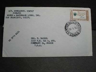 SS MORMACREY, MOORE-McCORMACK Lines Naval Cover 1960 SAU PAULO, BRAZIL