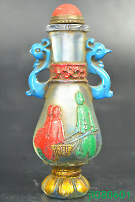 Collectible Handwork old glassware rare paint Working condition big Snuff Bottle