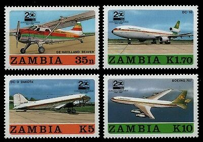 Sambia 1987 - Mi-Nr. 425-428 ** - MNH - Flugzeuge / Airplanes