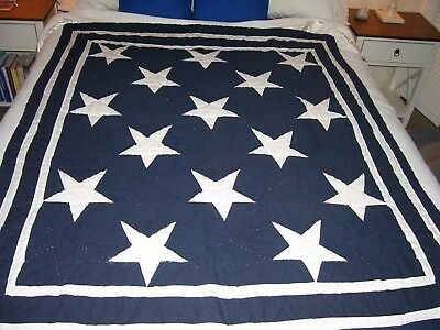 "CRIB QUILT/Hand made/ 54"" x 46""/Navy Background with white stars/Great Shape"