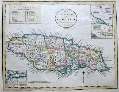 JAMAICA KINGSTON  BY JOHN CARY c1784 GENUINE COPPER ENGRAVED ANTIQUE MAP