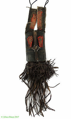 Wodaabe Fulani Leather Wallet Pouch with Tassels African Art