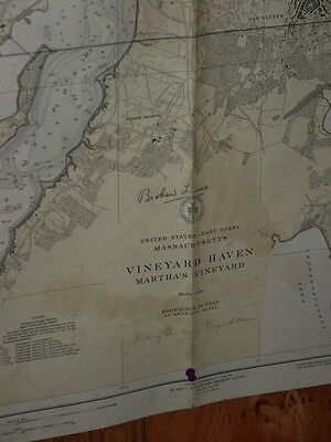 Old Working 1939 USC & GS Nautical Chart Martha's Vineyard Nice Size