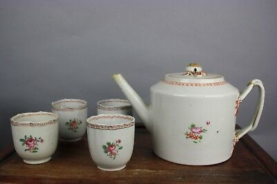 19th C. Chinese Export Porcelain Teapot And Four Teacups