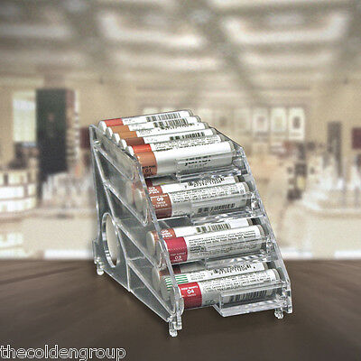 Six - 4-Tier Clear Acrylic Rolling Lip Balm Chapstick Counter Displays