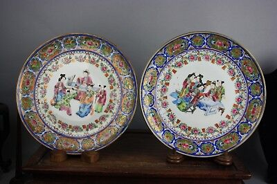 19th C. Pair Chinese Rose Medallion Porcelain Dishes