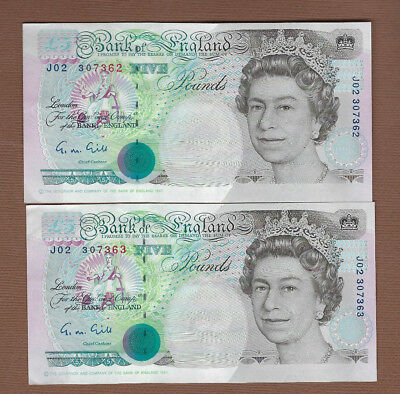 Bank Of England £5 Bank Notes (2 in Sequence)....Buy It Now!!