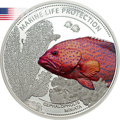Palau 2016 5$ Marine Life Protection - Coral Hind Proof Silver Coin
