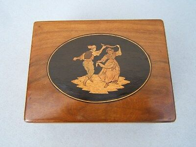 Lovely Early Sorrento Olivewood Inlaid Antique Jewellery Box - Fab Interior