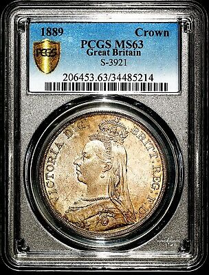 1889 Queen Victoria Great Britain Silver Crown Coin PCGS MS63