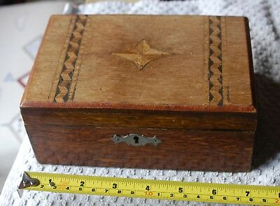 Antique Wood Inlaid Box With Lift Out Section Inlaid Top Needs Some Tlc
