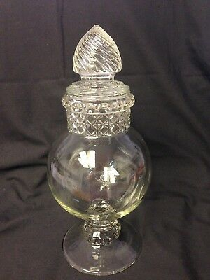 "Antique Dakota Tiffin Glass Candy Jar Globe 14"" Apothecary Drugstore SWIRL Top"