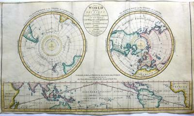 THE WORLD POLAR REGIONS AND TROPICS   BY JOHN CARY GENUINE ANTIQUE MAP  c1784