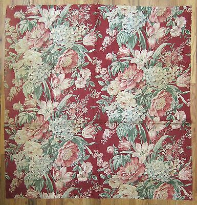 Beautiful vintage 1930s English or Irish linen floral print fabric (9345)