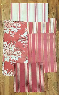 Vintage 1930's French Bundled Cotton Floral Fabric with 4 Ticking Stripes (2046)