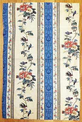 Antique Beautiful 19th C. Floral Cotton Print Fabric with Birds (9903)