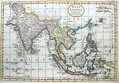 EAST INDIES  BY THOMAS KITCHIN c1792 GENUINE COPPER ENGRAVED ANTIQUE MAP.