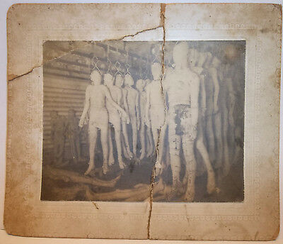 Antique Cabinet Card Photo Wrapped Cadaver Bodies Hanging On Hooks In Cooler