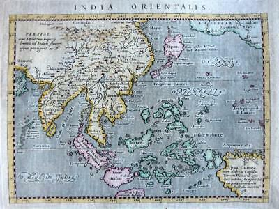 INDIA ORIENTALIS BY GIROLAMO PORRO c1597 GENUINE ANTIQUE ENGRAVED EAST ASIA MAP
