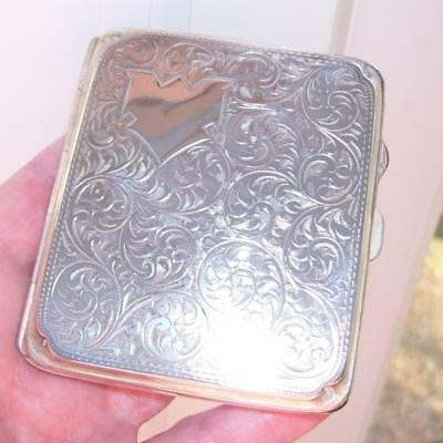 Stunning Quality Antique Brm 1925 Engraved Solid Silver Cigarette Card Case 79G