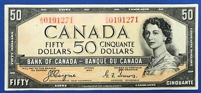 1954 Canada Coyne Towers (1) $50 Dollar Paper Banknote Devil's Face Circulated