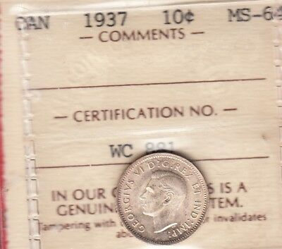 1937 Canadian Silver 10 Cent ~ ICCS Graded MS-64! ~ OLD ICCS HOLDER!