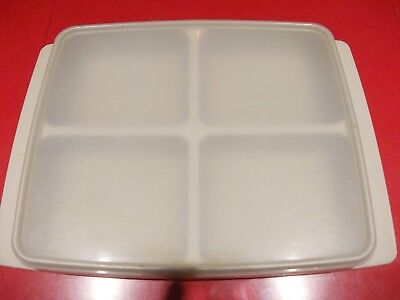 Plastic Food Storage Container with Lid, Beige, 4 Compartments, Brand: Stewart