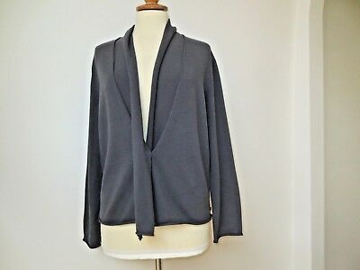 Ischiko Dark Slate Grey Cotton/elastane Cardigan - Uk 10