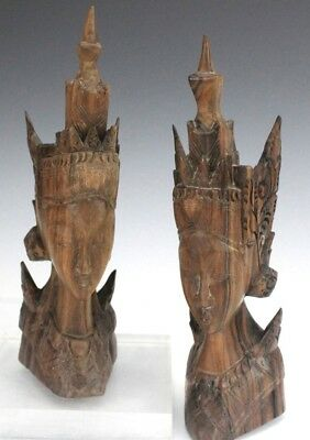 Vintage Pair Of Bali Indonesian Hand Carved Wood Figural Head Sculpture NR HSF