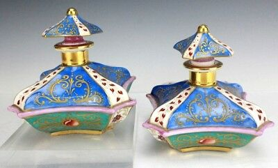 Antique 19th Century Jacob Petit French Enameled Porcelain Scent Bottles NR CBB