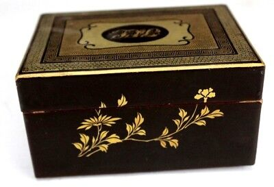 Antique Victorian Era Black & Gold Monogram Decorated Japanese Lacquer Box SLG