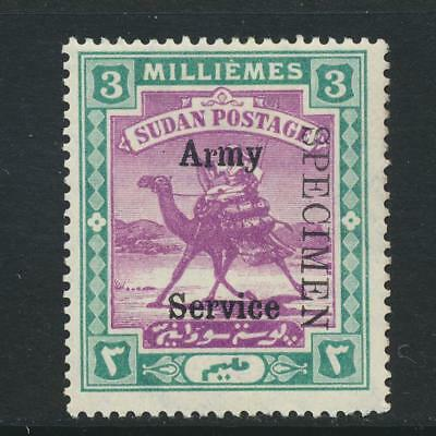 """SUDAN - BRITISH 1906, 3m ARMY SERVICE """"SPECIMEN"""" SIGNED VLH SG#A8s (SEE BELOW)"""