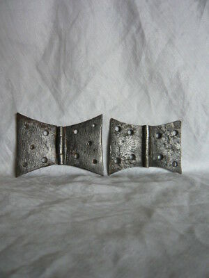 Two (pair) Antique 18th Century / Georgian Steel Butterfly Hinges