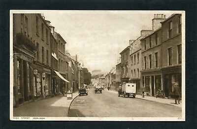 Jedburgh Roxburghshire - High Street Vintage Cars etc by Edwards c1940
