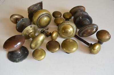 16 x ORIGINAL RECLAIMED ANTIQUE VICTORIAN DOOR PULLS HANDLES Brass Bronze
