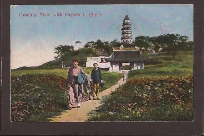 China. Country View with Pagoda in China. Kingshill of Shanghai.