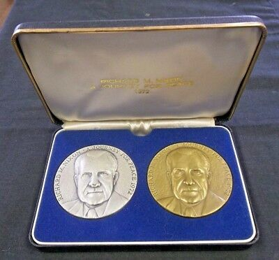 1972 Richard Nixon Journey For Peace (2) Medal Set Silver $ Bronze     (4879)