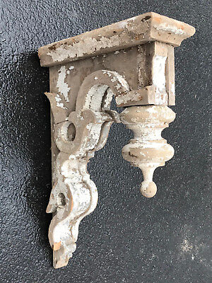 Large Antique 1800's Architectural Wood VICTORIAN Corbel Bracket Chippy Paint
