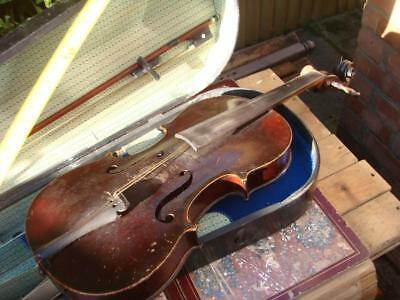 Violin  IN Coffin Case &  Bow for restoration or Repair Labeled  MEDIO FENO