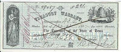 Texas Treasury Warrant Written $ Note 1862 Austin Civil Service #49487 Bee Hive