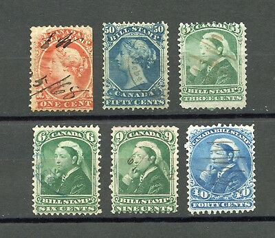 Canada Selection Of Bill Stamps Used, Very Good Condition
