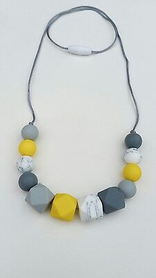 Silicone teething beads necklace baby sensory jewellery teether ivy yellow mix