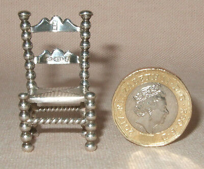 Miniature 925 / 930 Hallmarked Silver Chair, 15 Gms, Dolls House