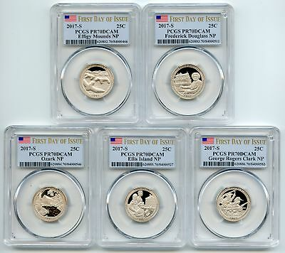 2017 S Clad National Parks Quarter Set PCGS PR70DCAM First Day of Issue