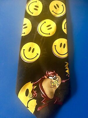 Looney Tunes Novelty Taz Tie - Cartoon Tazmanian Devil Breaks Thru Smiley Face