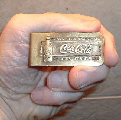 Coca Cola money Clip Coke Brass Money Holder OLD Free ship Fantasy!