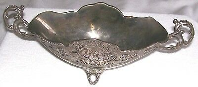 "Vintage Silver Plate Oval  Footed Bowl 9.5"" L X 3.5"" W X 3"" Tall, Very Ornate"