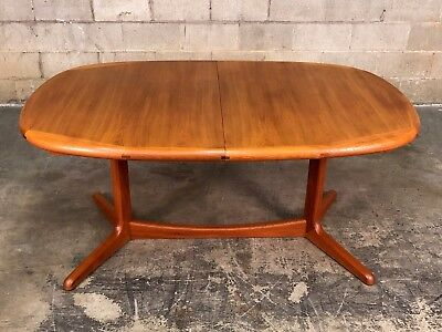 Danish Modern Ansager Mobler Teak Dining Table With 2 Extensions